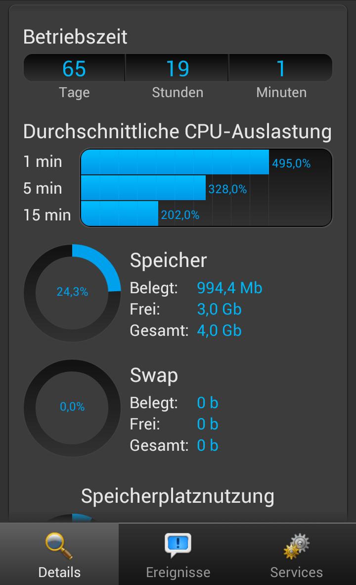 Plesk App für Android - CPU Auslastung