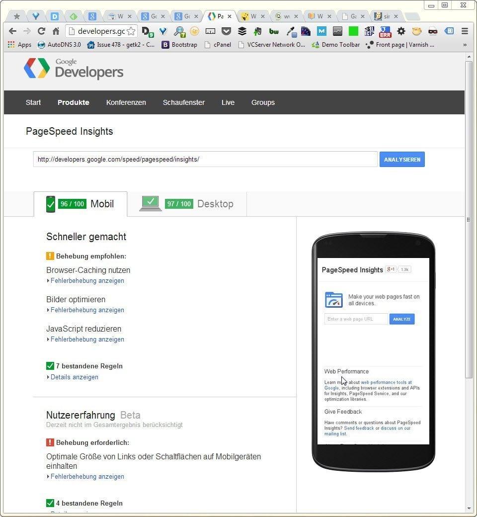 Screenshot der Google PageSpeed Insights Seite - wieder responsive