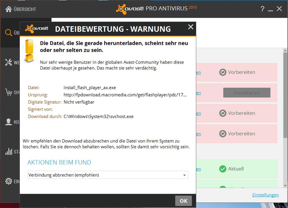 Avast warnt vor eigener Downloadquelle