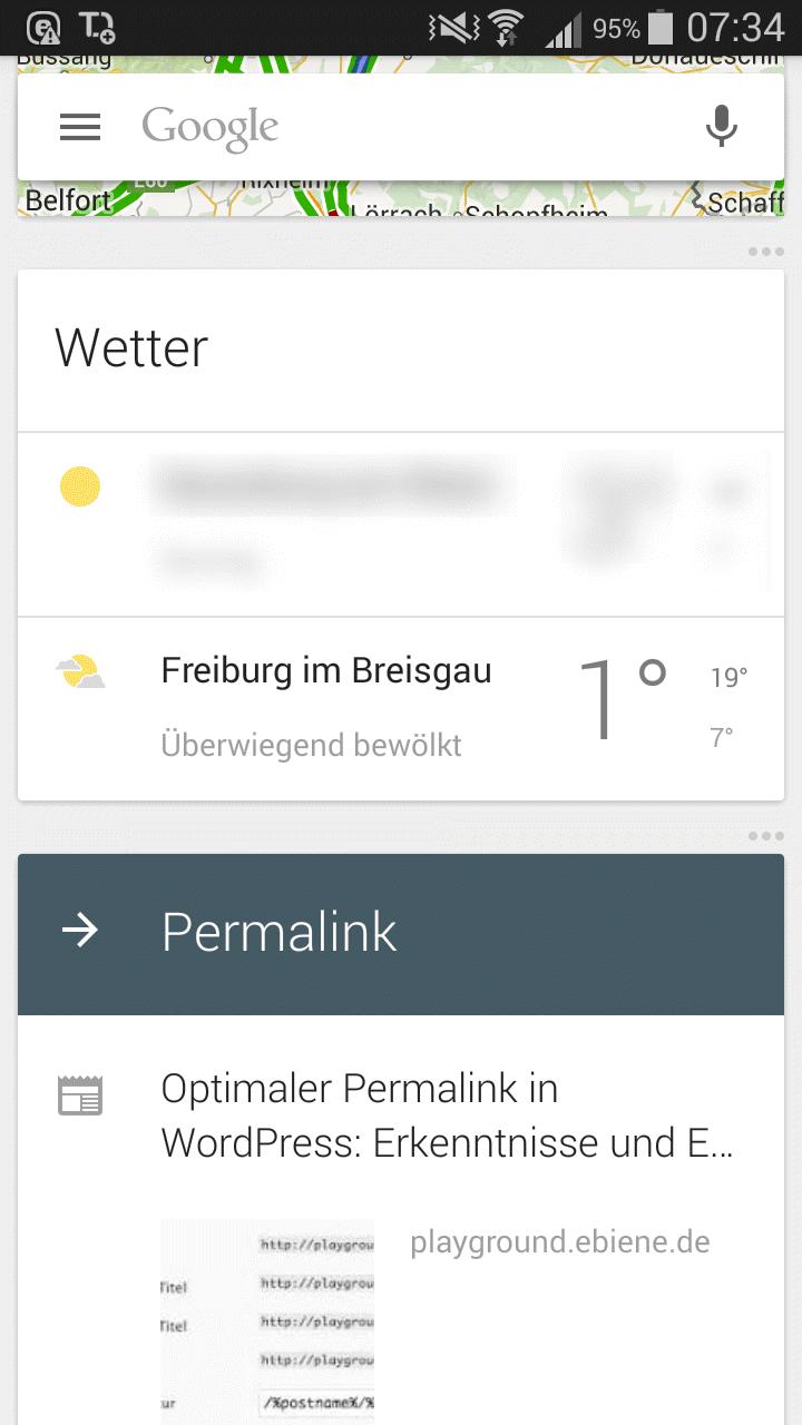 Die Benachrichtigungen von Google Now