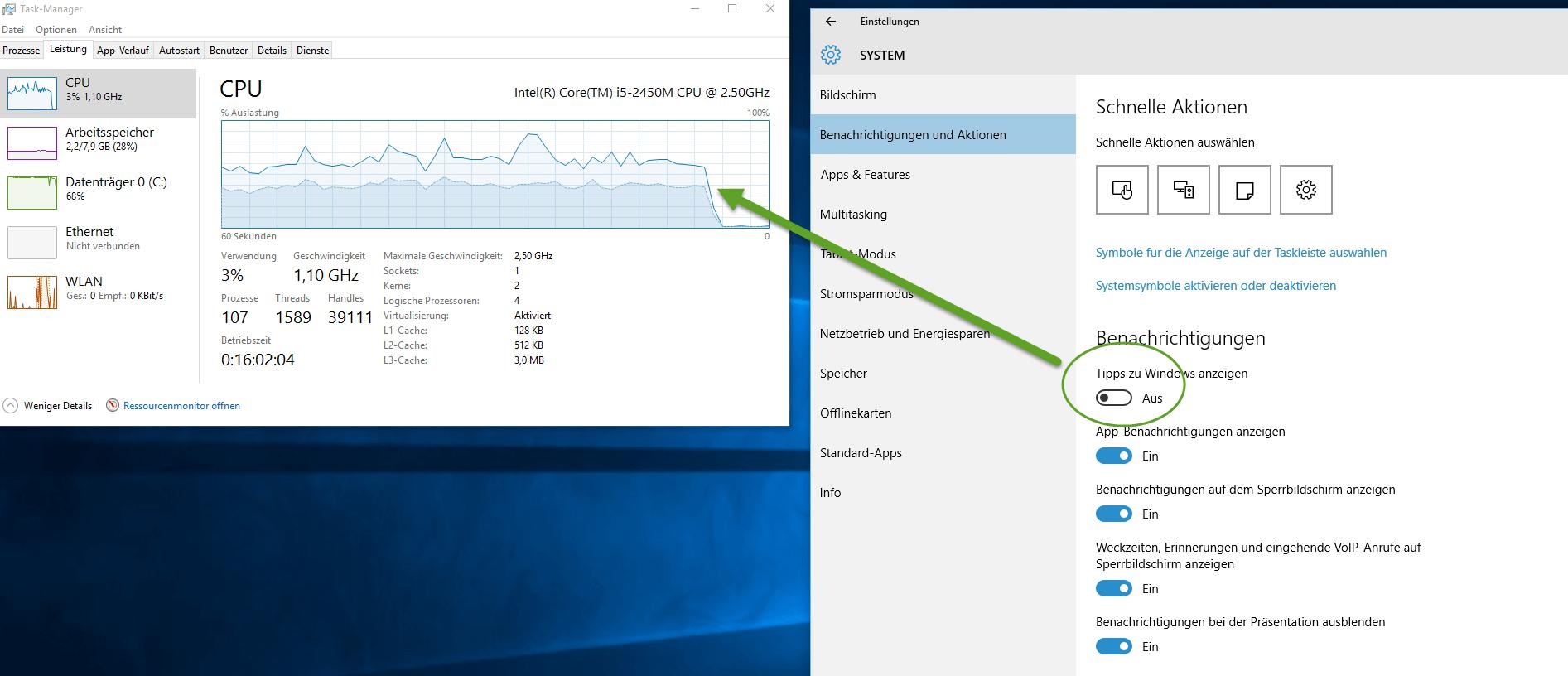 CPU Leerlauf ohne RuntimeBroker.exe