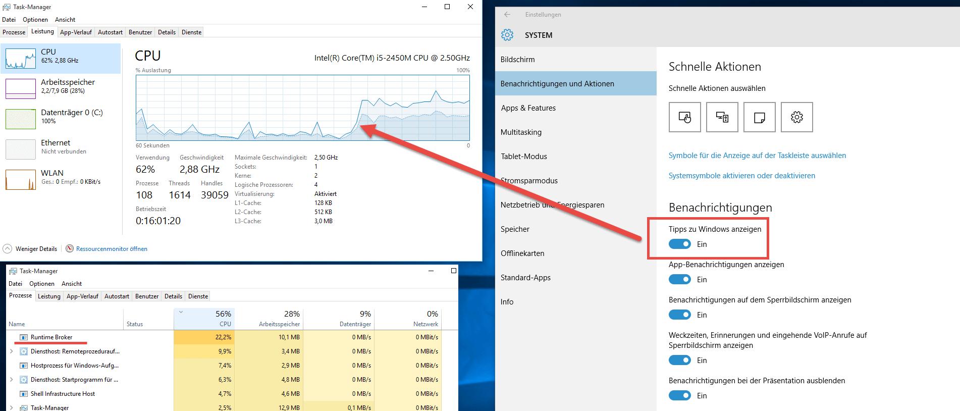 Hohe CPU Last bei eingeschalteten Benachrichtigungen