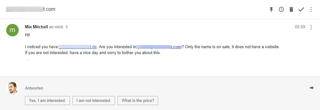 Gelöschte Domain wird von Spammern angeboten.