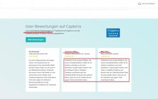 Screenshot von taskworld.com mit Fake Bewertungen