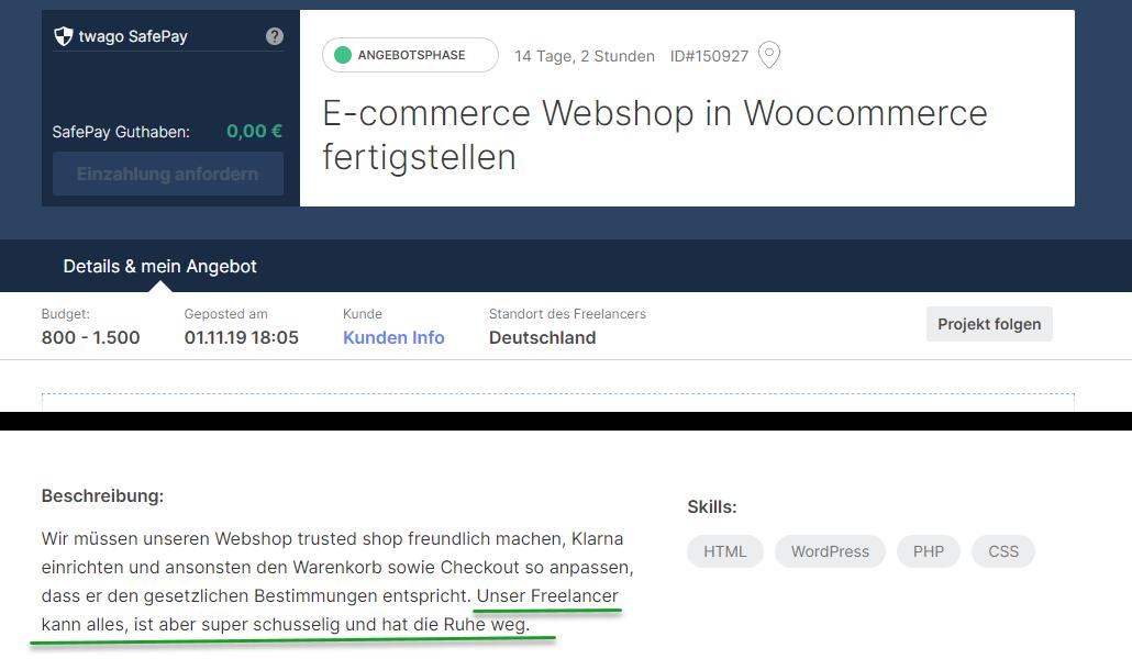 Ausschreibung bei Twago: E-Commerce Webshop in WooCommerce fertigstellen.
